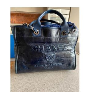Chanel Navy Blue Shopper Bag